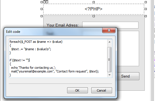 creating in contact php a form